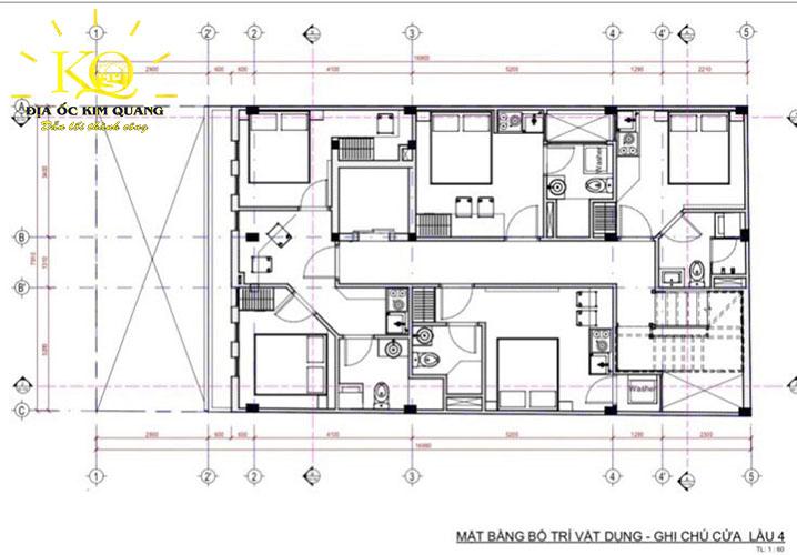 Mặt bằng bố trí vật dụng, ghi chú cửa lầu 4 tòa nhà căn hộ dịch vụ cho thuê đường Trần Quang Khải quận 1
