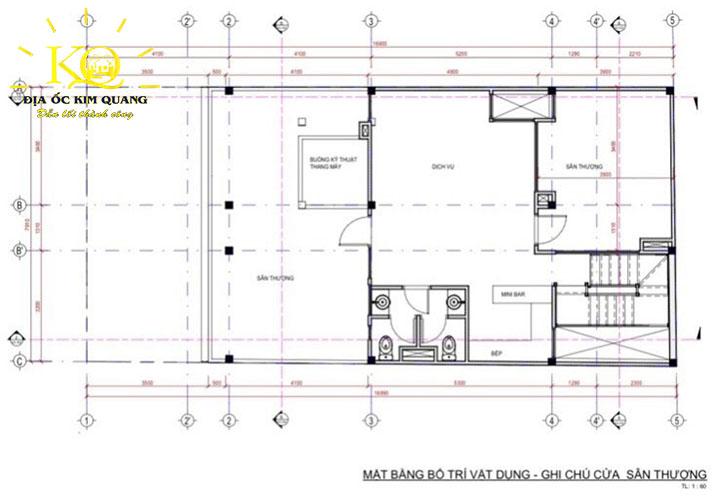 Mặt bằng bố trí vật dụng, ghi chú cửa sân thượng tòa nhà căn hộ dịch vụ cho thuê đường Trần Quang Khải quận 1
