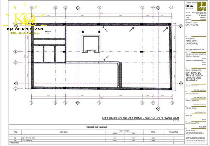Mặt bằng bố trí vật dụng, ghi chú cửa tầng hầm tòa nhà căn hộ dịch vụ cho thuê đường Trần Quang Khải quận 1